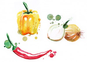 Gemüse-Aquarell